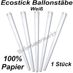 Ecostick Ballonstab aus 100 % Papier, weiß, 1 Stück