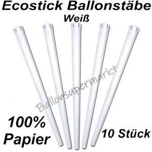 Ecostick Ballonstäbe aus 100 % Papier, weiß, 10 Stück