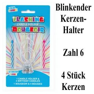 Blinkender Kerzenhalter, Zahl 6, mit 4 Geburtstagskerzen