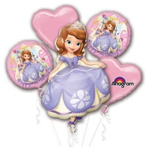 Luftballon-Bouquet Sofia die Erste, 5 Folienballons zum Kindergeburtstag mit Helium
