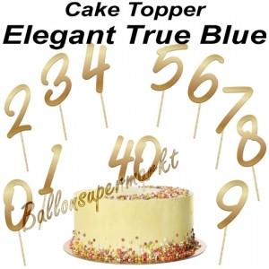 Zahlen Cake Topper Elegant True Blue, Dekoration zum Geburtstag
