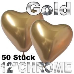 Chrome Herzluftballons 33 cm Gold, 50 Stück