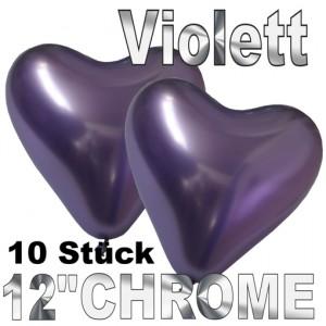 Chrome Herzluftballons 33 cm Violett, 10 Stück