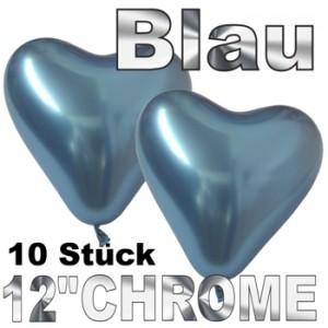 Chrome Herzluftballons 33 cm Blau, 10 Stück