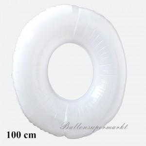 Großer Luftballon aus Folie, Zahl 0, weiß
