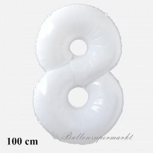 Großer weißer Luftballon Zahl 8 mit Helium