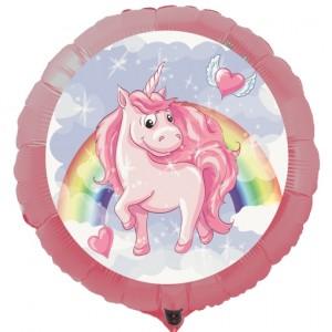 Einhorn Luftballon, rosa Rundballon mit Ballongas-Helium
