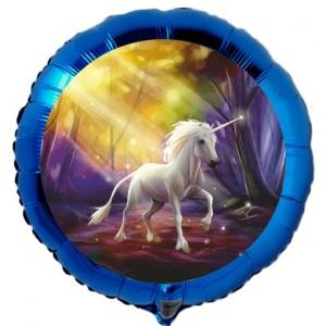 Einhorn Luftballon, blauer Rundballon mit Ballongas-Helium