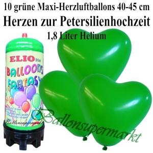Ballons und Helium Mini Set zur Petersilienhochzeit, grüne Maxi-Herzluftballons mit 1,8 Liter Einwegbehälter