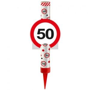 Eisfontäne Verkehrsschild 50, Dekoration zum 50. Jubiläum und Geburtstag