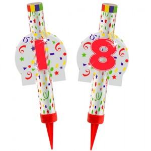 Eisfontänen Zahl 18, Dekoration zu Jubiläum und Geburtstag