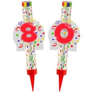 Eisfontänen Zahl 80, Dekoration zu Jubiläum und Geburtstag