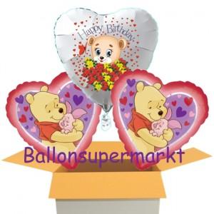 3 Luftballons aus Folie zum Geburtstag mit Winnie Pooh