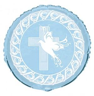 Luftballon Kreuz und Taube zu Taufe, Kommunion, ohne Helium Ballongas