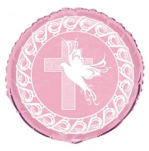 Luftballon Kreuz und Taube, Rosa zur Taufe, Kommunion
