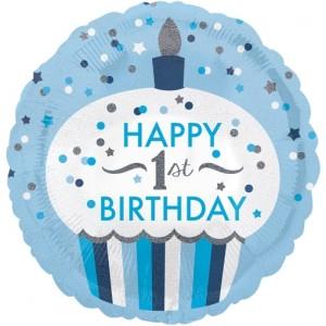 Luftballon Happy 1st Birthday Boy Cupcake, holografisch ohne Helium