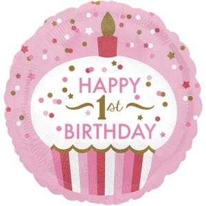 Luftballon aus Folie Happy 1st Birthday Girl, holografisch, inklusive Helium