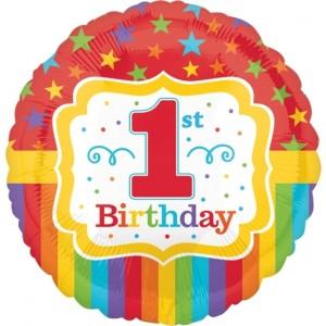 Luftballon aus Folie zum 1. Geburtstag, 1st Birthday Rainbow, heliumgefüllt