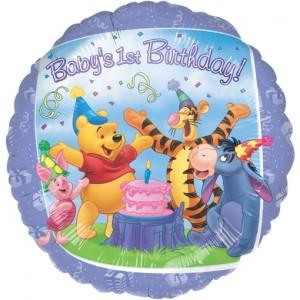 Luftballon zum 1. Geburtstag, Winnie Puuh inklusive Helium