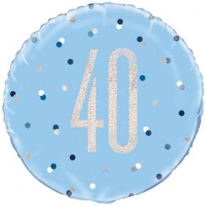 Luftballon aus Folie mit Helium, Blue & Silver Glitz Birthday 40, zum 40. Geburtstag