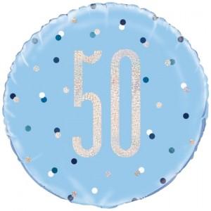 Luftballon aus Folie mit Helium, Blue & Silver Glitz Birthday 50, zum 50. Geburtstag