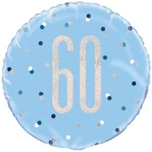 Luftballon aus Folie mit Helium, Blue & Silver Glitz Birthday 60, zum 60. Geburtstag
