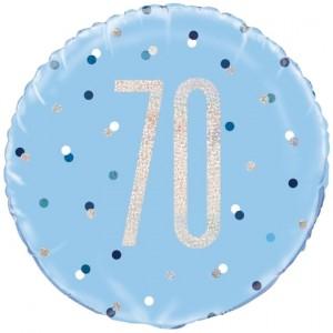 Luftballon aus Folie mit Helium, Blue & Silver Glitz Birthday 70, zum 70. Geburtstag