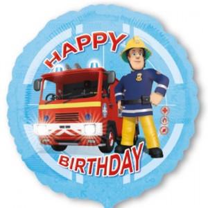 Feuerwehrmann Sam happy Birtday Luftballon aus Folie, inklusive Helium