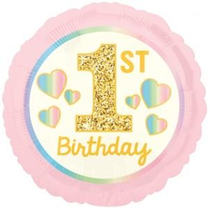 Luftballon Girl 1st Birthday, Rosa und Gold ohne Helium
