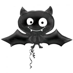 Fledermaus, Großer Luftballon aus Folie zu Halloween, inlusive Helium-Ballongas