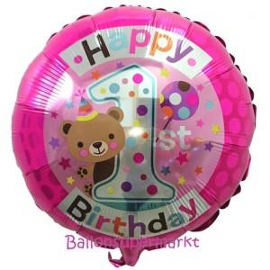 Luftballon Happy 1st Birthday Bärchen, pink, heliumgefüllt