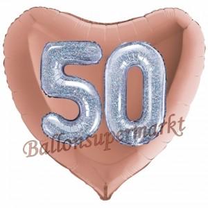 Herzluftballon Jumbo Zahl 50, rosegold-silber-holografisch mit 3D-Effekt zum 50. Geburtstag