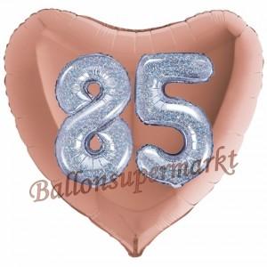 Herzluftballon Jumbo Zahl 85, rosegold-silber-holografisch mit 3D-Effekt zum 85. Geburtstag
