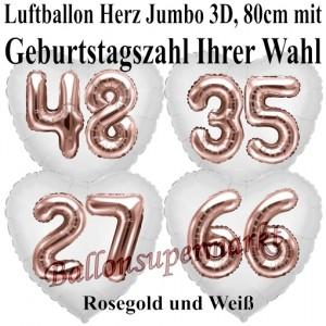 Luftballon Herz Jumbo mit Zahl nach Wahl, rosegold mit 3D-Effekt zum Geburtstag
