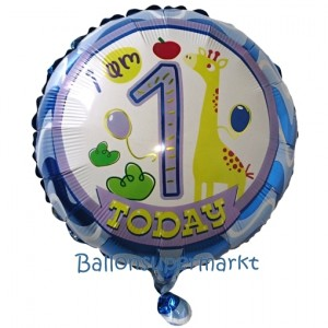 Folienballon I am 1 today zum 1. Geburtstag, inklusive Helium