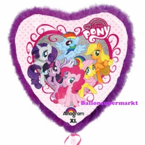 My Little Pony mit Rahmen aus Federn, Jumbo Herzluftballon aus Folie mit Helium