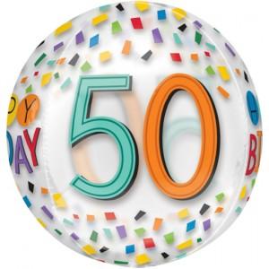 Happy Birthday Rainbow 50, Orbz Luftballon aus Folie, inklusive Helium