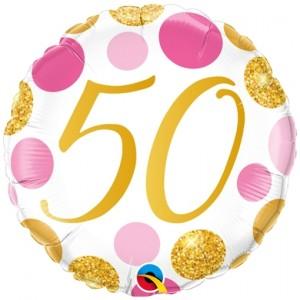 Luftballon aus Folie mit Helium, Pink & Gold Dots 50, zum 50. Geburtstag