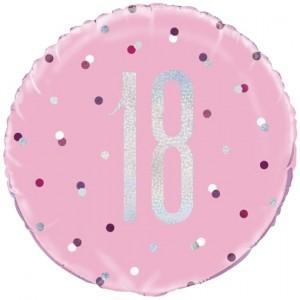 Luftballon aus Folie mit Helium, Pink & Silver Glitz Birthday 18, zum 18. Geburtstag