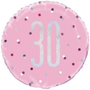 Luftballon aus Folie mit Helium, Pink & Silver Glitz Birthday 30, zum 30. Geburtstag