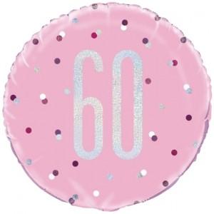 Luftballon aus Folie mit Helium, Pink & Silver Glitz Birthday 60, zum 60. Geburtstag