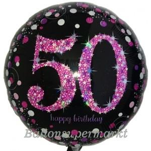 Luftballon aus Folie Pink Celebration 50, zum 50.Geburtstag mit Helium