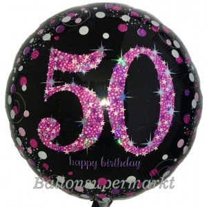 Luftballon zum 50. Geburtstag, Pink Celebration 50, ohne Helium-Ballongas