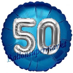 Runder Luftballon Jumbo Zahl 50, blau-silber mit 3D-Effekt zum 50. Geburtstag