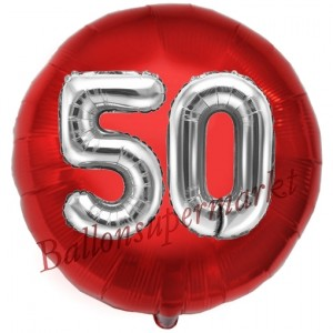 Runder Luftballon Jumbo Zahl 50, rot-silber mit 3D-Effekt zum 50. Geburtstag