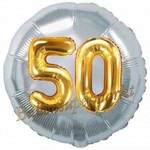 Runder Luftballon Jumbo Zahl 50, silber-gold mit 3D-Effekt zum 50. Geburtstag