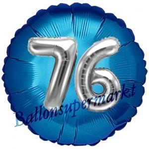 Runder Luftballon Jumbo Zahl 76, blau-silber mit 3D-Effekt zum 76. Geburtstag