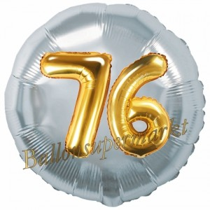 Runder Luftballon Jumbo Zahl 76, silber-gold mit 3D-Effekt zum 76. Geburtstag