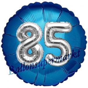Runder Luftballon Jumbo Zahl 85, blau-silber mit 3D-Effekt zum 85. Geburtstag