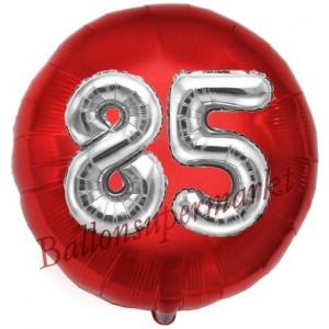 Runder Luftballon Jumbo Zahl 85, rot-silber mit 3D-Effekt zum 85. Geburtstag